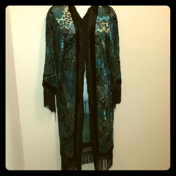 Vintage Black Swan Sheer Fabric & Velvet Robe CA M